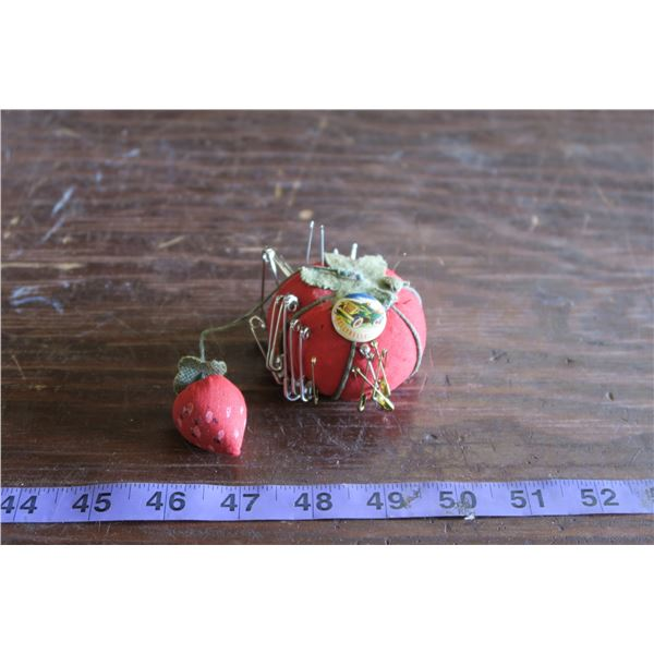 Old Strawberry Pin Cushion and Nelly Bell Grape Nuts Pin +Westair Sales Measuring Tape
