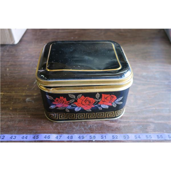 Black Tin Sewing Box w/ Goodies