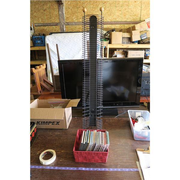 "17 CD's & Standing CD Rack 41"" Tall"