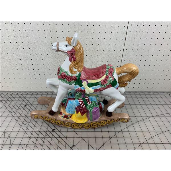 """13"""" CERAMIC MUSICAL ROCKING HORSE"""