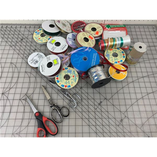 LOT OF RIBBON AND SCISSORS
