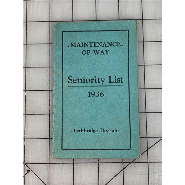 1936 CANADIAN PACIFIC RAILWAY SENIORITY LIST HANDBOOK