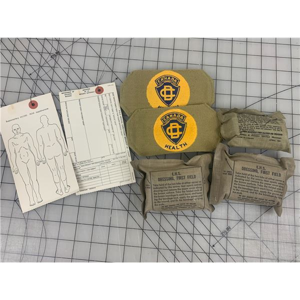 VINTAGE CANADA CIVIL DEFENCE HEALTH ARM BANDS MEDICAL RELATED