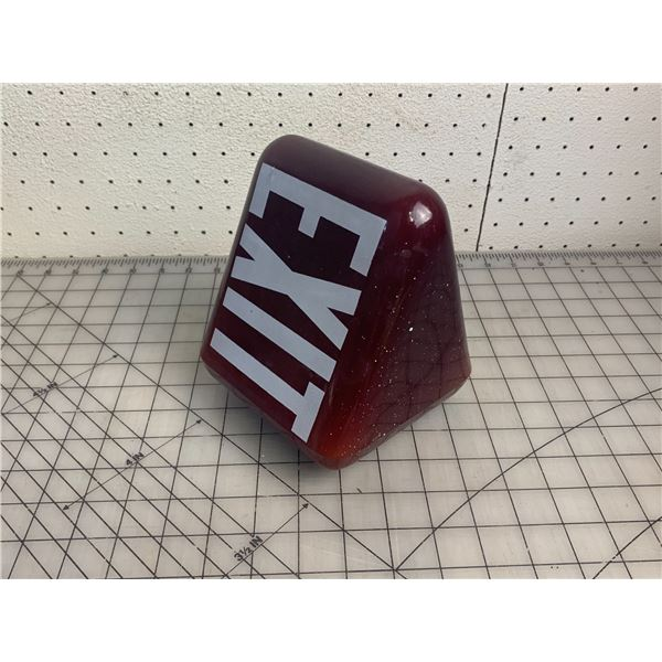 VINTAGE RUBY RED TRIANGLE EXIT LIGHT COVER