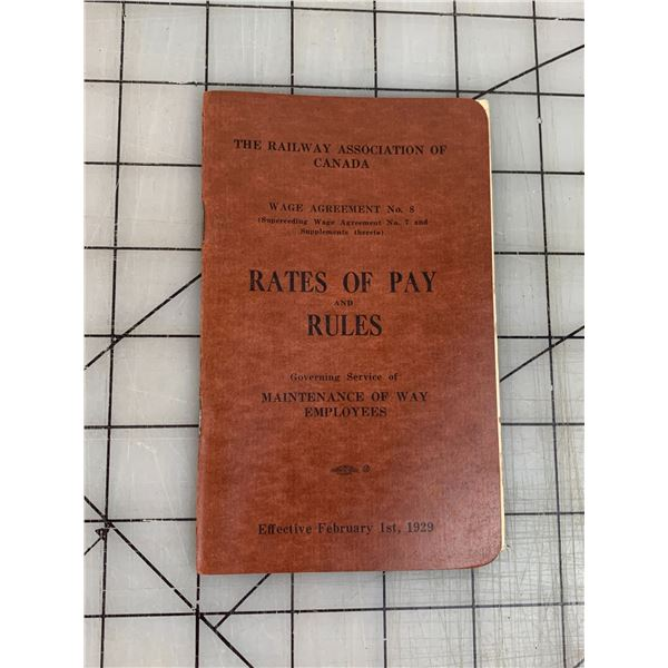 1929 RAILWAY ASSOCIATION OF CANADA RATES OF PAY HAND BOOK