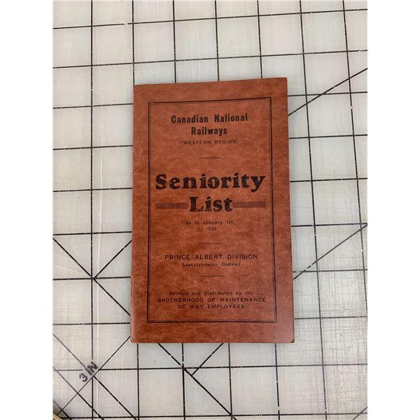 CANADIAN NATIONAL RAILWAY 1938 SENIORITY LIST HANDBOOK PRINCE ALBERT