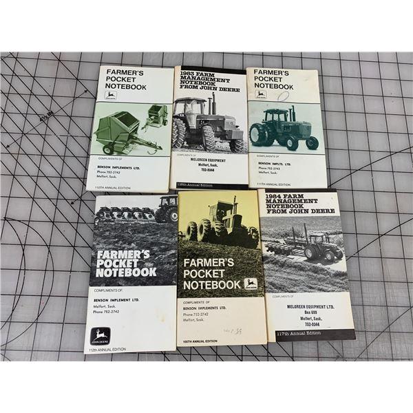 LOT OF JOHN DEERE FARMERS POCKET ADVERTISING NOTEBOOKS MELFORT SK