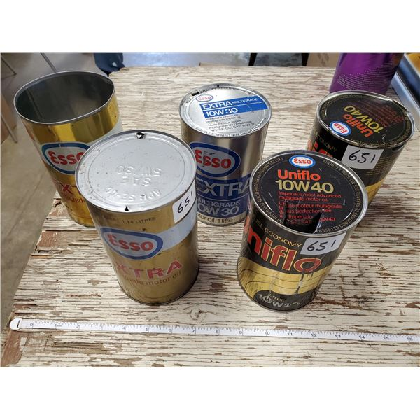5 EMPTY ESSO OIL CANS