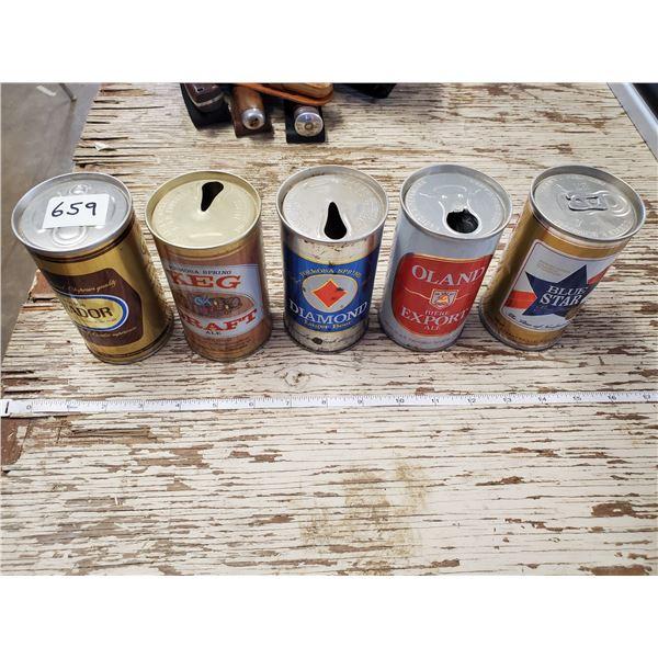 5 EMPTY VINTAGE BEER CANS