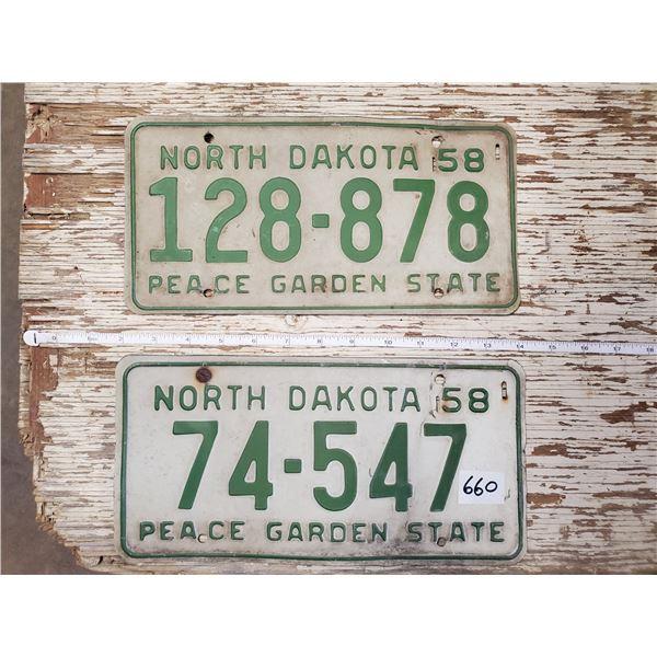2 NORTH DAKOTA LICENSE PLATES 1958