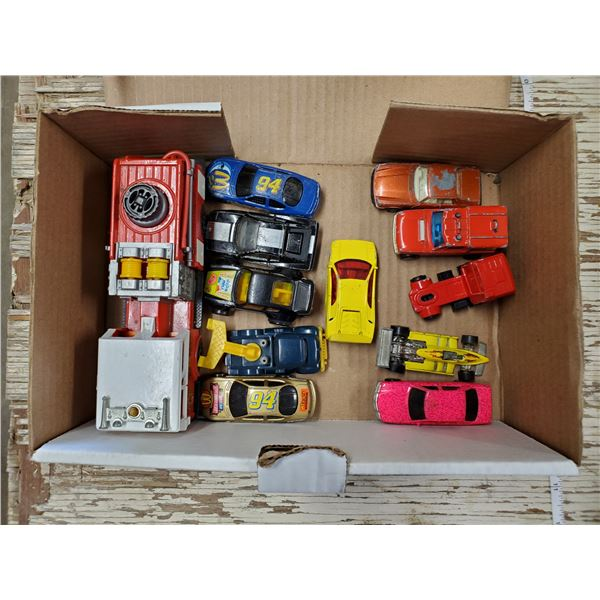 LOT OF TOY CARS -SOME HOT WHEELS & FIRE TRUCK