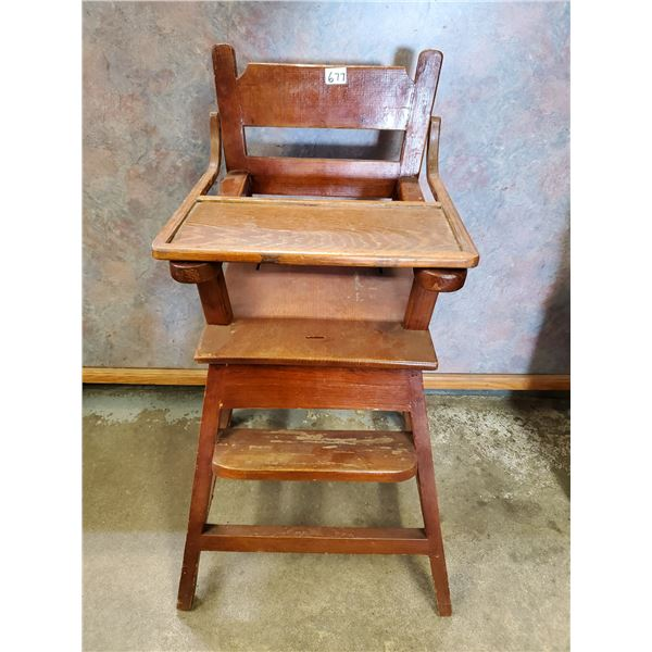 VINTAGE WOODEN HIGH CHAIR (HAND MADE)