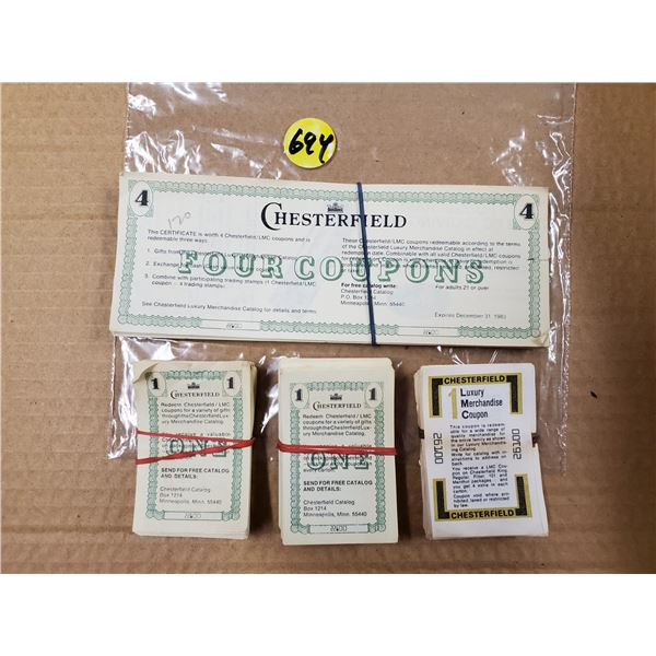 ASSORTED CHESTERFIELD TOBACCO COUPONS