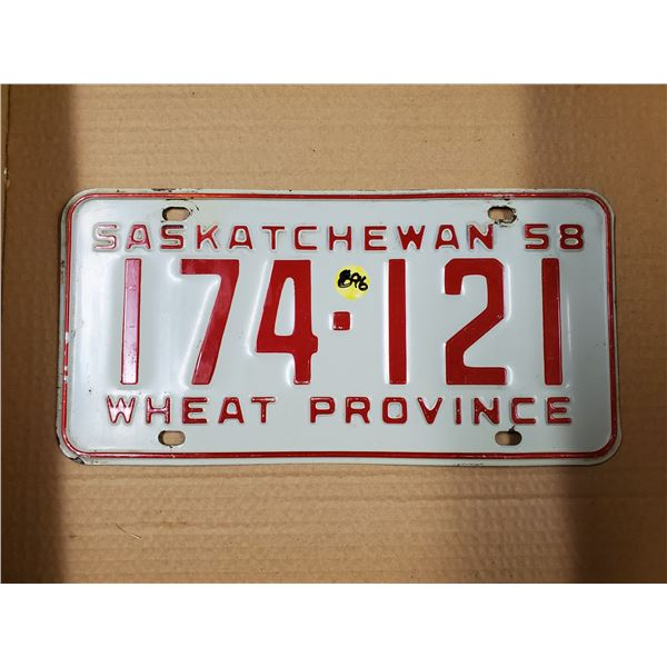 ONE 1958 SASK LICENSE PLATE