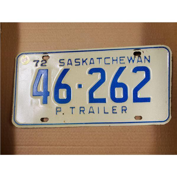 ONE 1972 SASK P TRAILER PLATES