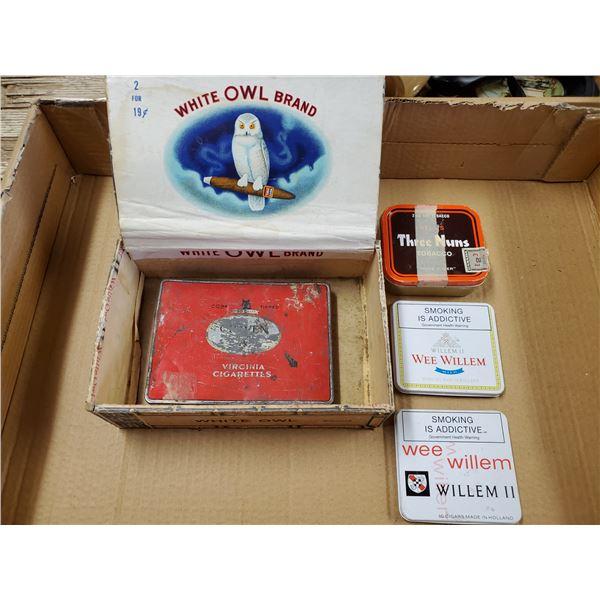 WHITE OWL CIGAR BOX W/ 4 TOBACCO TINS