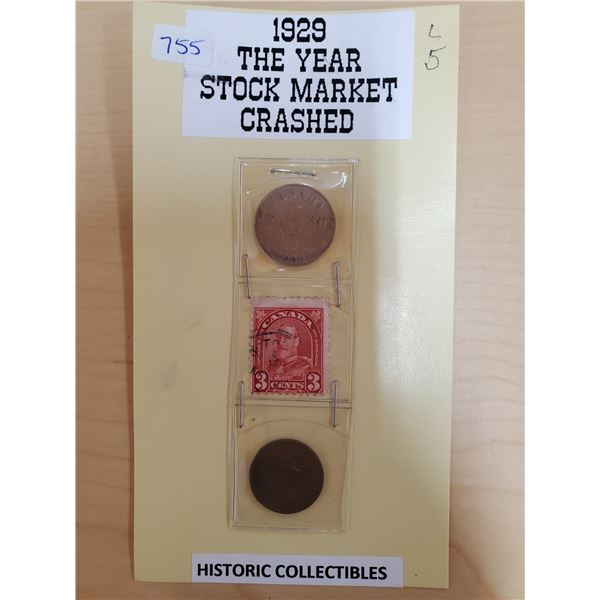 1929 HISTORIC COLLECTIBLES ONE CENT, FIVE CENTS, STAMP