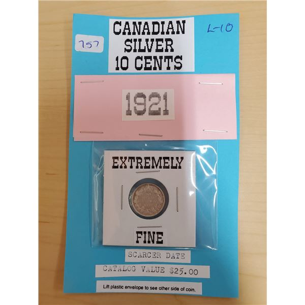 1921 CANADIAN SILVER 10 CENTS EF