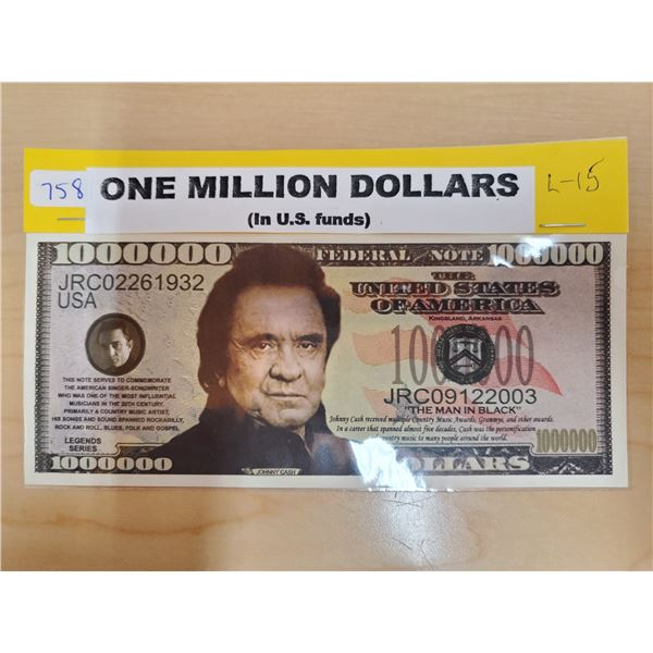 ONE MILLION DOLLARS JOHNNY CASH BILL