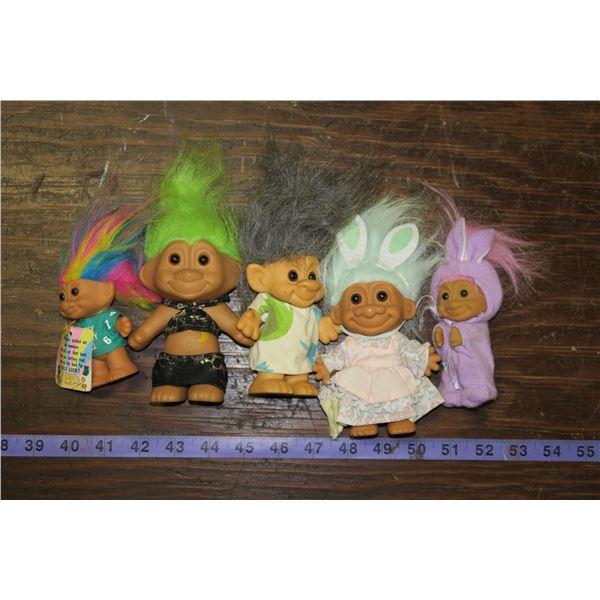 5 Vintage Troll Dolls