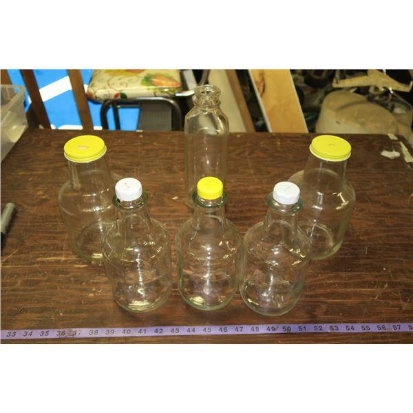Lot of Vintage Glass: Milk Bottle, Heinz Ketchup Bottles, Syrup Bottles