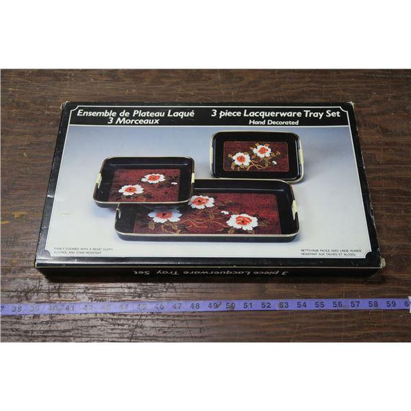 3 Pc. Laquerware Tray Set in original box, appears new