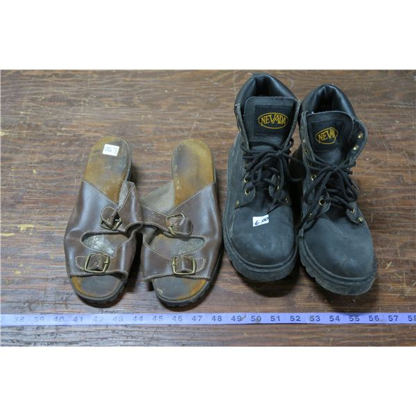 Two Pairs Footwear, Boots:Size 9, other unknown