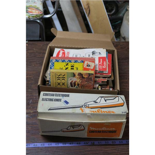 Moulinex Electric Knife(Original box) + Misc Vintage Cookbooks