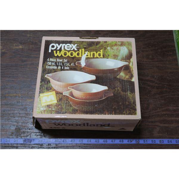 Woodland Pyrex Set in Original Box, Appears Unused