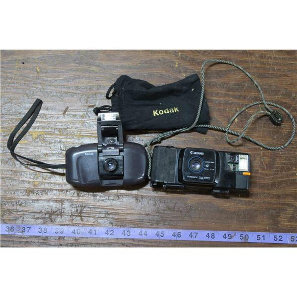 2 Vintage Point & Shoot Film Cameras: Canon and Kodak (Canon Damaged)