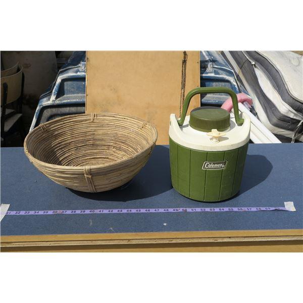 Vintage Coleman Decanter/Cooler & Wooden Fruit Bowl