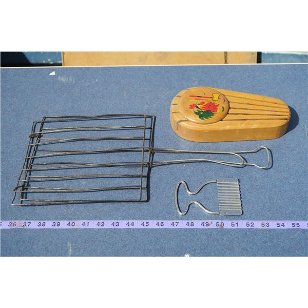 Knife Rack, Cheese Slicer & Vintage Toaster Grill