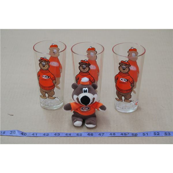 Set of 3 Great Rootbear Glasses & Bear Toy