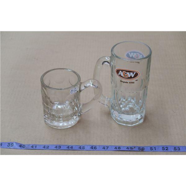 Vintage A&W Glasses, 1 Embossed logo