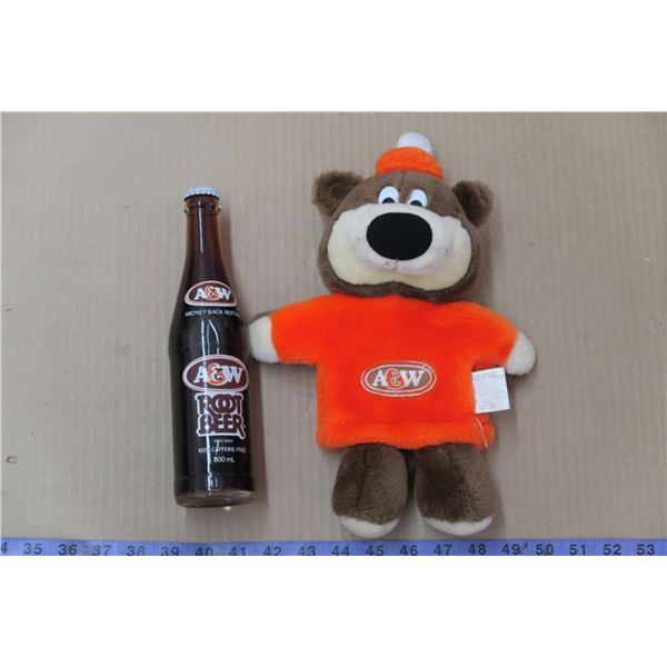 Root Bear Hand Puppet & Sealed A&W Root Beer Bottle