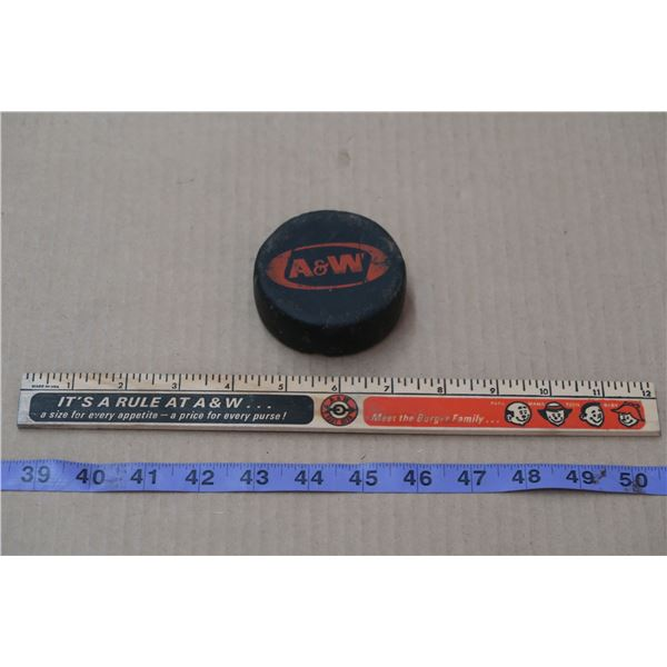 Vintage A&W Collectibles (Ruler and Puck)