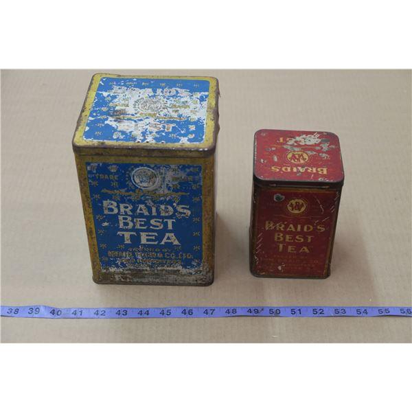 2 Vintage Braids Best Tea Tins