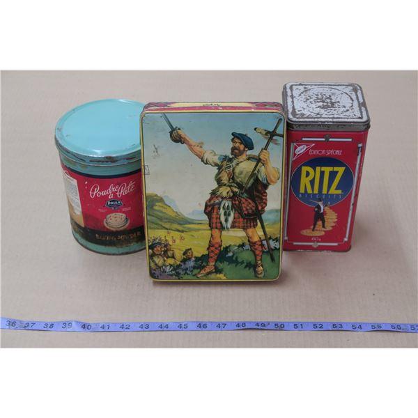 Lot of 3 Vintage Food/Snack Tins