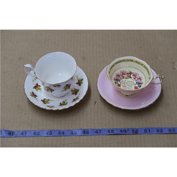 2 Teacups and Saucers