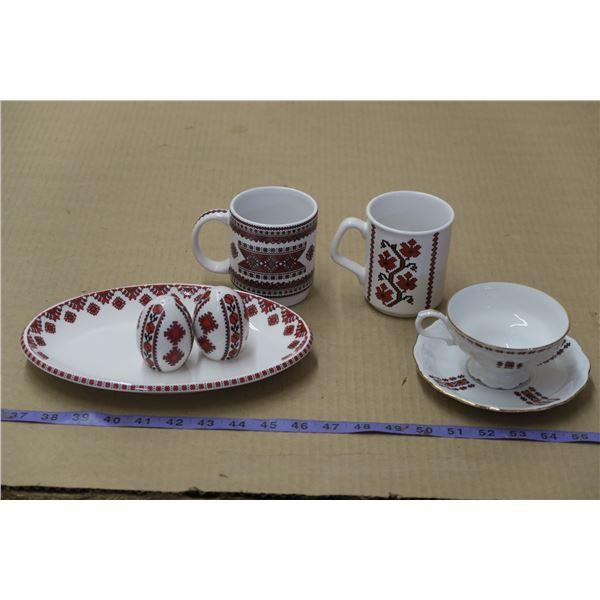 Ukranian Themed Dishware Lot