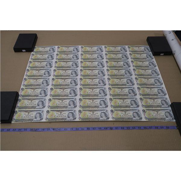 Roll Of Uncut Canada $1 Bills