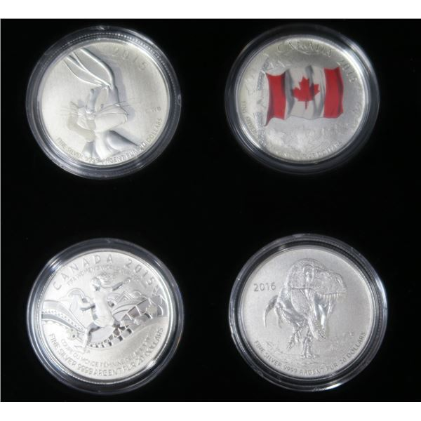 Lot of Four Canadian $20 Fine Silver Coins in Case