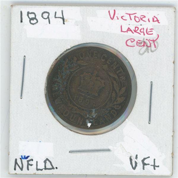 1894 Victoria Large Cent Newfoundland VF+