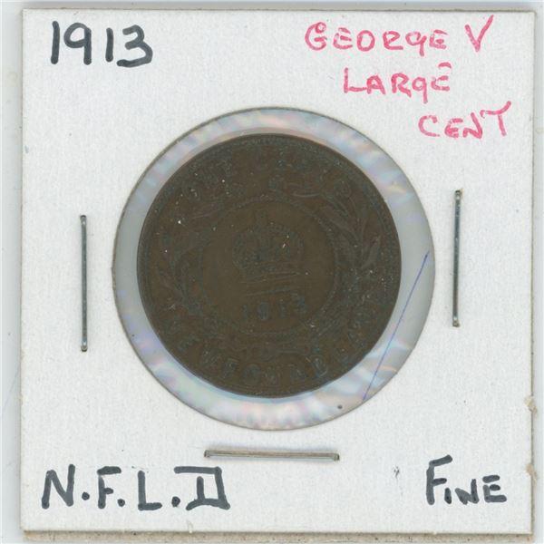 1913 Geroge V Large Cent Newfoundland Fine