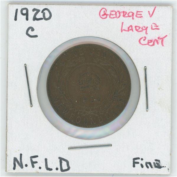 1920 C George V Large Cent Newfoundland Fine