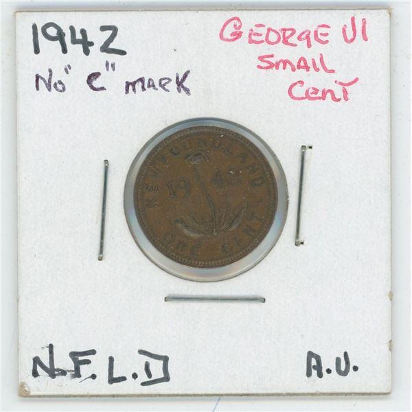 1942 (No C Mark) George VI Small Cent Newfoundland AV