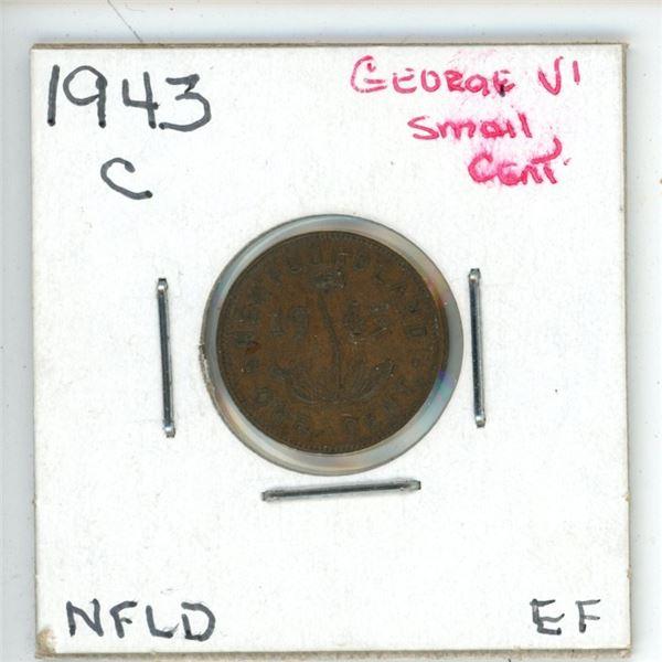 1943 C George VI Small Cent Newfoundland EF