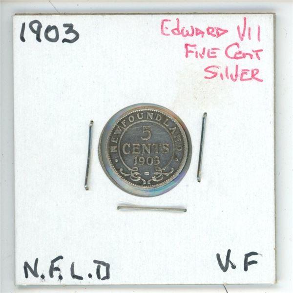 1903 Edward VII ¢5 Silver Newfoundland VF