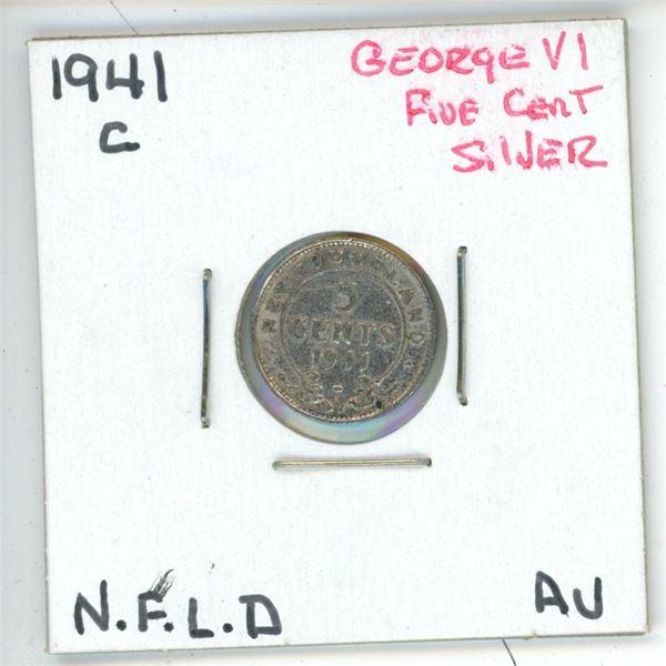 1941 C George VI ¢5 Silver Newfoundland AV