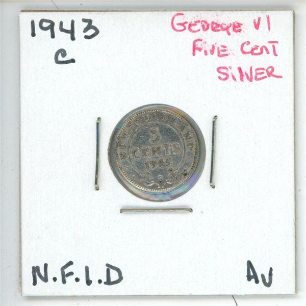 1943 C George VI ¢5 Silver Newfoundland AV